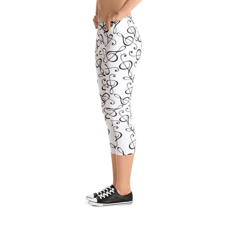 Image of Treble Clef, Womens Capri Leggings