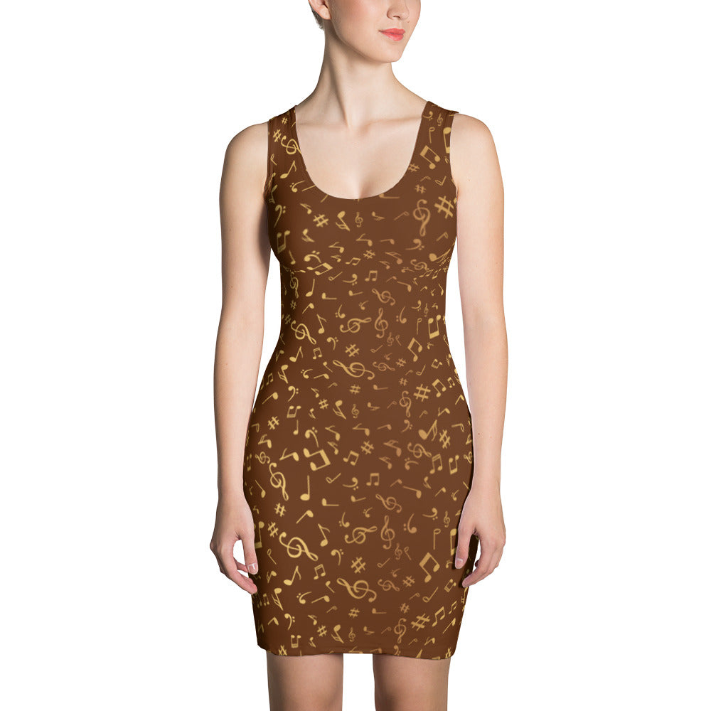 Golden Music Note Dress for Women