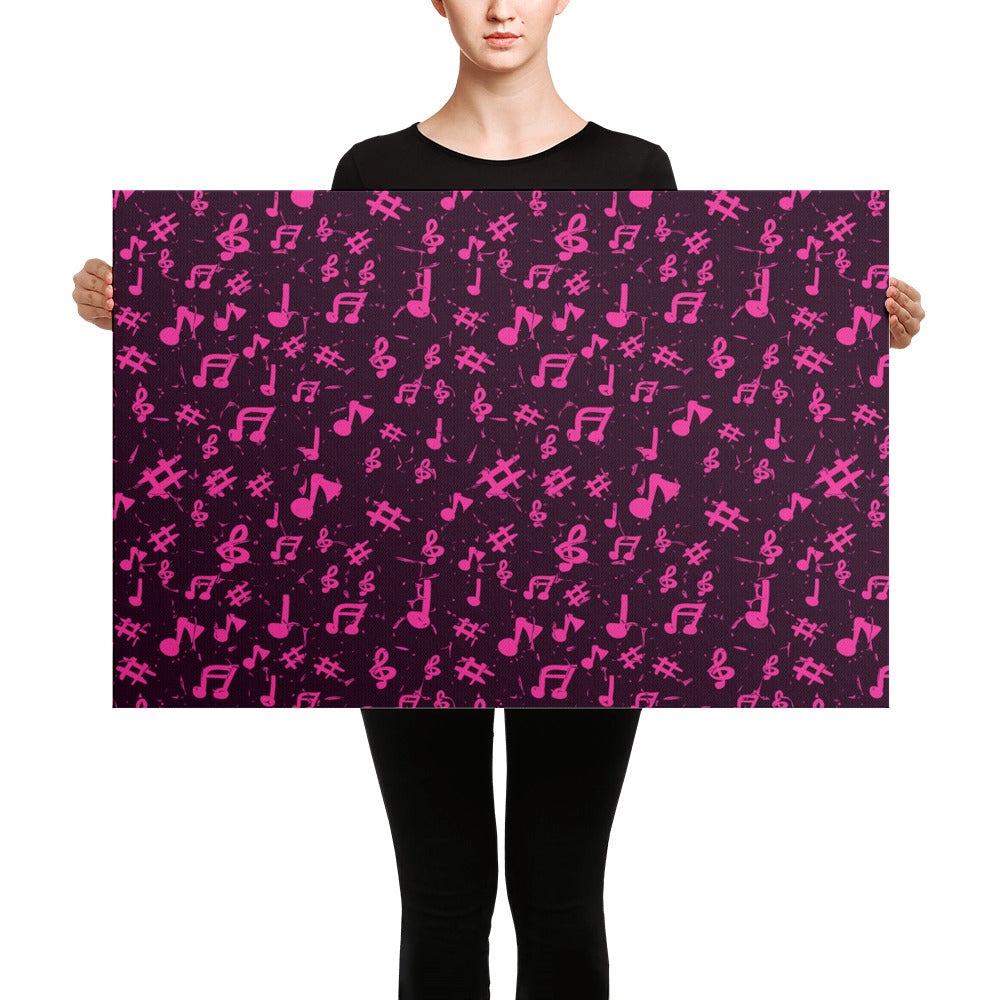 Pink Music Note Canvas
