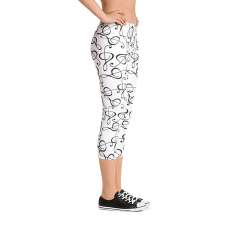 Treble Clef, Womens Capri Leggings