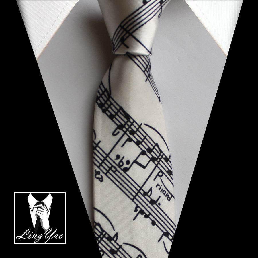 5cm Skinny Ties White with Black Classic Musical Notes