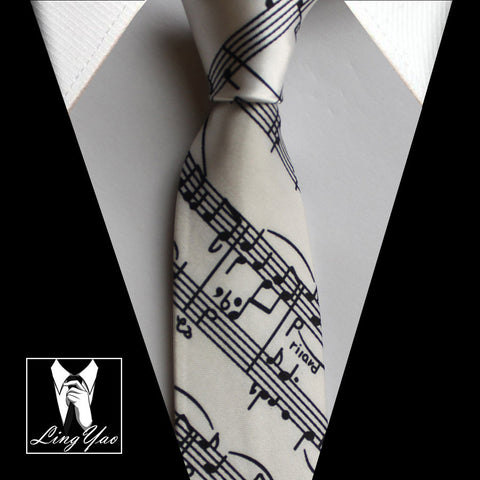 Image of 5cm Skinny Ties White with Black Classic Musical Notes