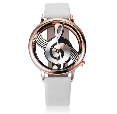 Unique Woman Quartz Analog Hollow Musical Note Style leather WristWatch