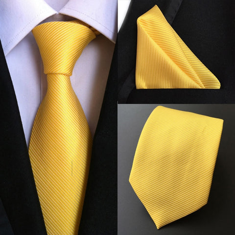 Factory Luxury Men's 100% Silk Tie Set Ties Handkerchief Pure Yellow Stripe Pocket Square Necktie Business Party Hanky Neck tie