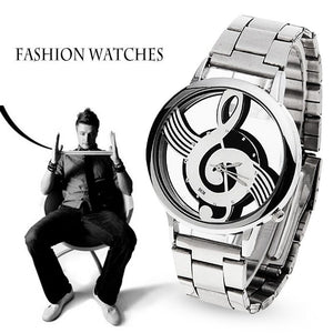 Music Treble Clef Watch Stainless Steel Wristwatch for Men and Women Silver Watches