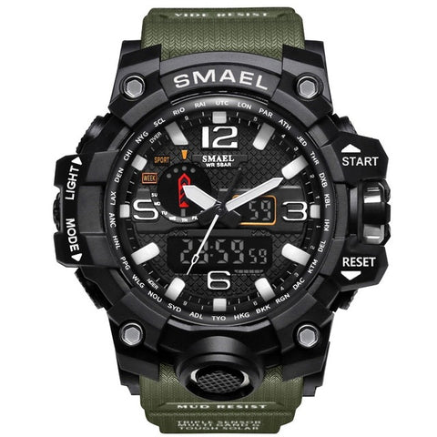Image of SMAEL Brand Mens Sports Watch Dual Display Analog Digital LED  Wristwatch Waterproof  Military Watch