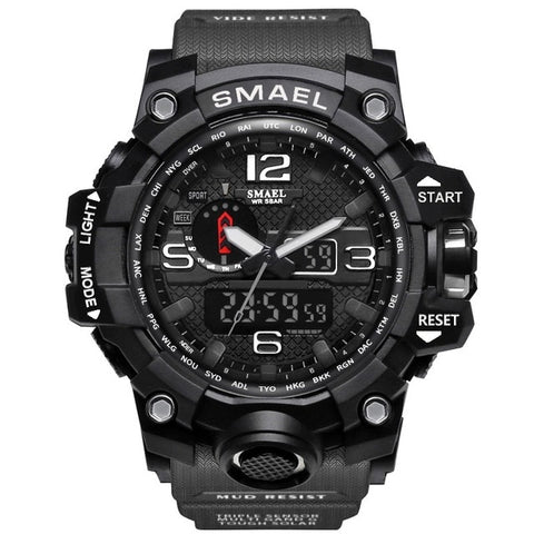 SMAEL Brand Mens Sports Watch Dual Display Analog Digital LED  Wristwatch Waterproof  Military Watch