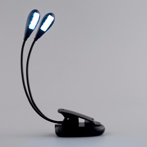 Image of New 2 Arm 8 Led Clip On Light for Piano, Musical Stand, Laptop. Travel Portable