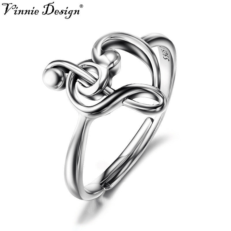 Silver Adjustable Rings Treble Clef Bass clef Heart Ring  For Women