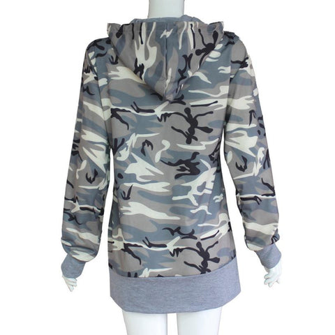 Womens Blouse Camouflage Printing Pocket Hoodie Long Sleeve Hooded Pullover Tops Femme Blouses