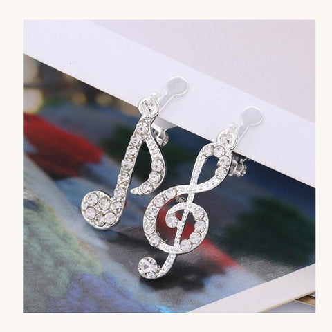 Music Notes Rhinestone Clip on Earrings Non Piercing