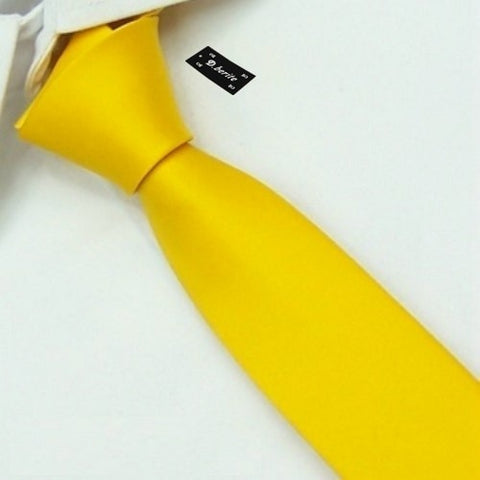D.berite Yellow 100% Silk Man's Wedding Groom Solid Skinny Slim Tie Necktie