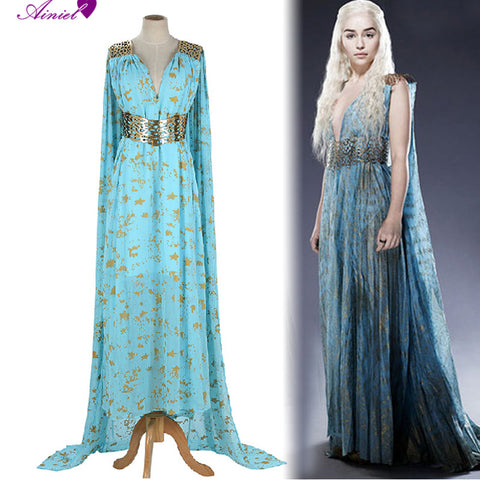 Image of Game of Thrones Cosplay Daenerys Targaryen  Wedding Dress Costume Halloween party long Blue Dress
