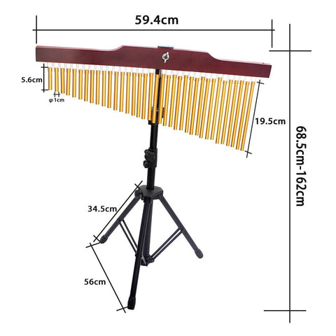 Image of 36 Note Metal Tube Wind Chime Percussion Musical Instrument With Stand