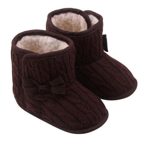 Image of Baby Girls Shoes Bowknot Soft Sole Winter Warm Shoes Boots