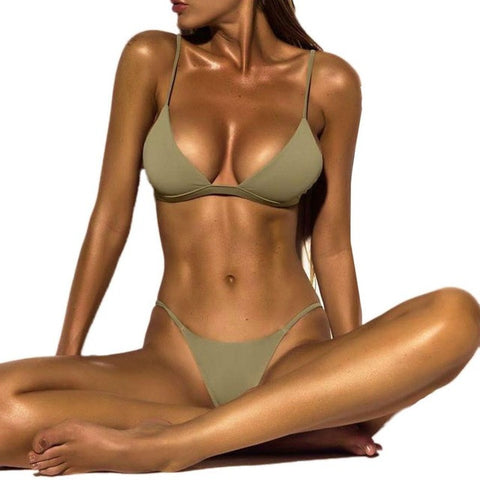 2019 Sexy Swimwear Sports Swimsuit Brazilian Micro Bikinis Women Bikini Deep V  Monokini Push Up Bandage Beachwear #EW
