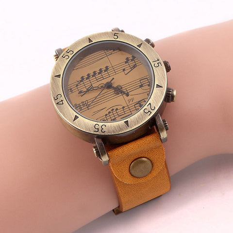Retro Creative Musical Notes Bronze Wrist Watch