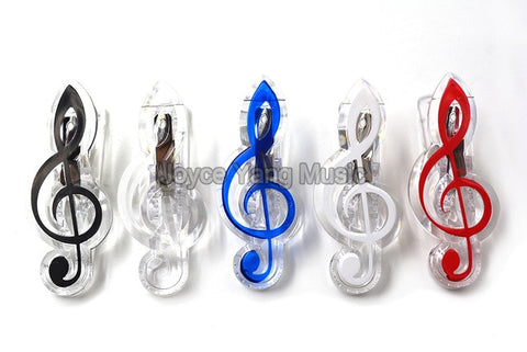 Image of Treble Clef Notes Bass Clef Grand Piano Music Book Note Paper Sheet Spring Clip Holder