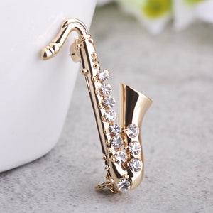 Musical Brooch Pins Saxophone Shape Crystal broche Gold-color Small Icon Badge Suit Scarf Bijouterie Kids Hat Clips