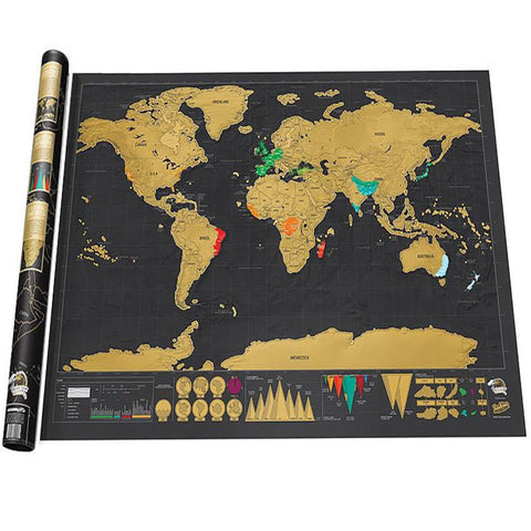 Image of Luxury Edition Black Scrape World Map Deluxe Travel Scratch Map Travel Map Poster Scratch Off World Map Gift for Traveler