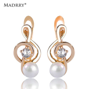 Music Note Small Stud Earrings For Women  Simulated Pearls