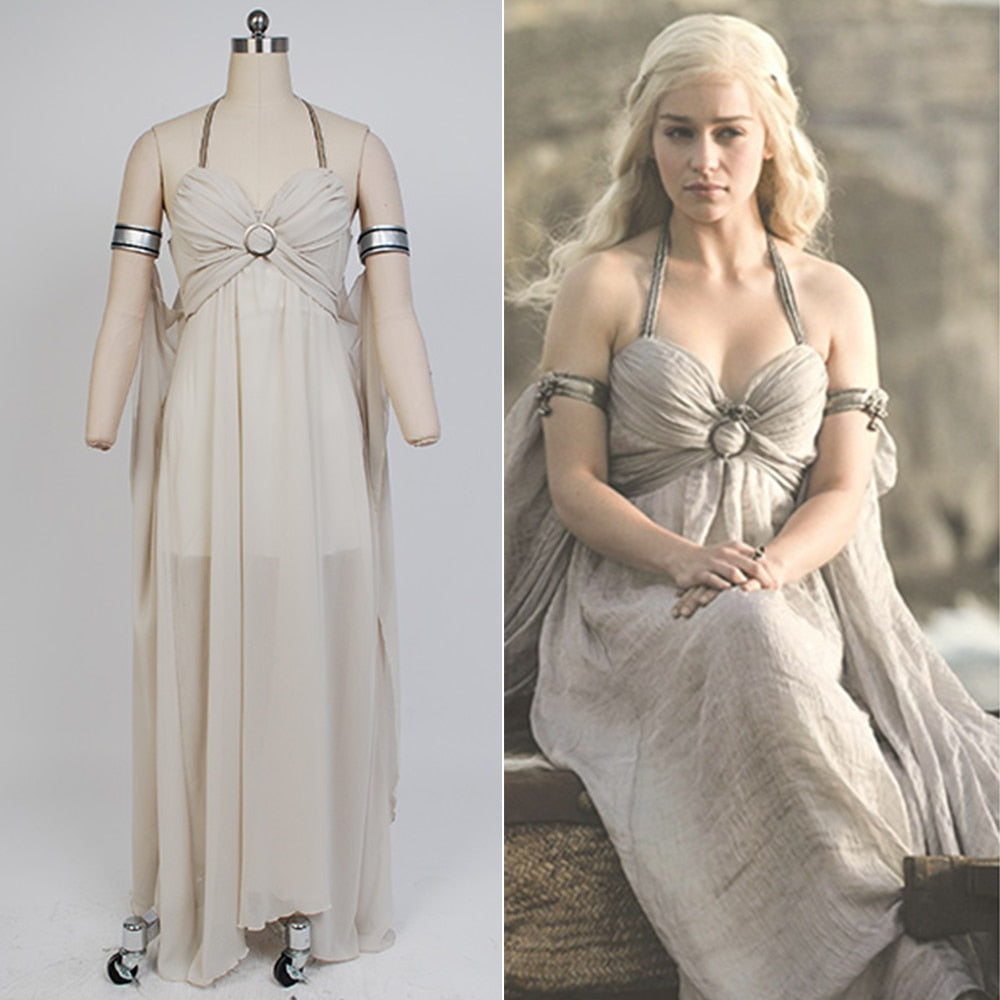 Game of Thrones Daenerys Targaryen Mother of Dragons Evening Dress Gown Cosplay Costume Halloween Party For Women Full Set
