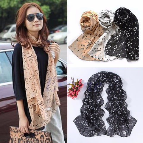 Image of Women Musical Music Note Black Chiffon Neck Scarf Shawl Stole Scarves Muffler