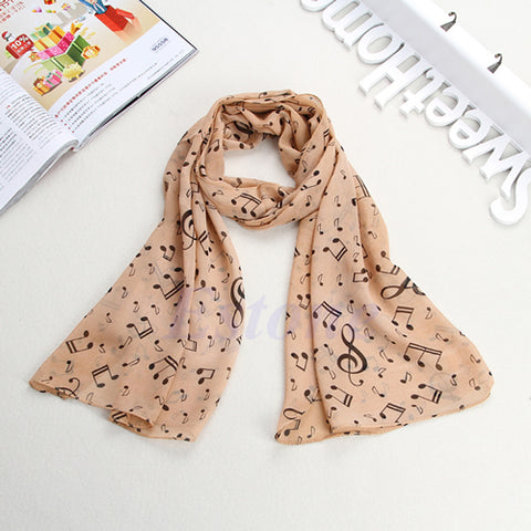 Women Musical Music Note Black Chiffon Neck Scarf Shawl Stole Scarves Muffler