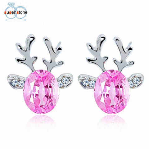 SUSENSTONE Crystal Earrings luxury three dimensional Christmas reindeer earing
