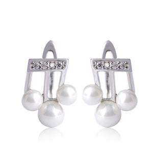 Madrry Small Music Note Stud Earrings Simulated-pearl for womens