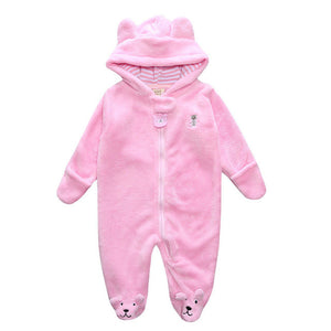 Winter Baby Rompers Bear style baby coral fleece Hoodies Jumpsuit baby girls boys romper newborn toddle clothing