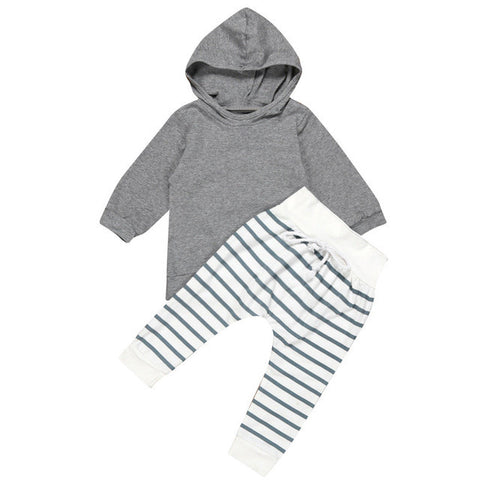 Unisex Kids Clothing Suits Newborn Baby Boy Girl Hooded Coat Tops+Striped Pants Legging Outfits Clothes Set