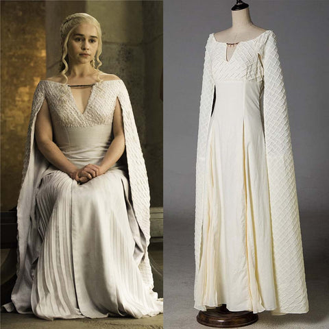 Game of Thrones 5 Daenerys Targaryen Costumes Cosplay Dress White Long Halloween Party Dress Ball Gowns for Women