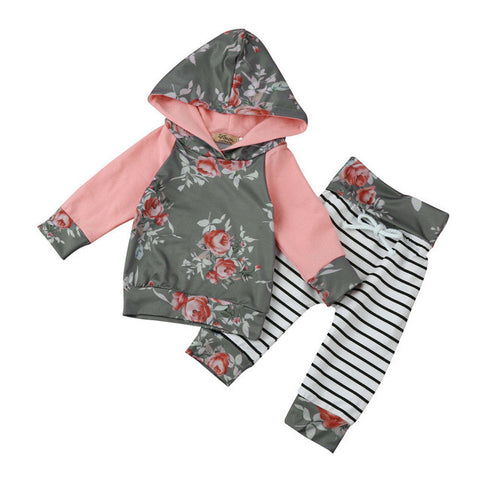 Image of Baby Boys & Girls Autumn  Clothes Long Sleeve Floral Stripe Hoodie Tops+Pants Outfit Clothes Set