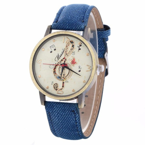 Image of GENVIVIA Luxury Brand Women Creative Music Note Pattern Quartz Watch Leather Strap Belt Table Watch
