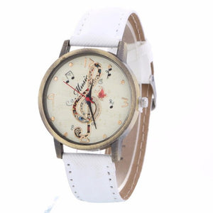 GENVIVIA Luxury Brand Women Creative Music Note Pattern Quartz Watch Leather Strap Belt Table Watch