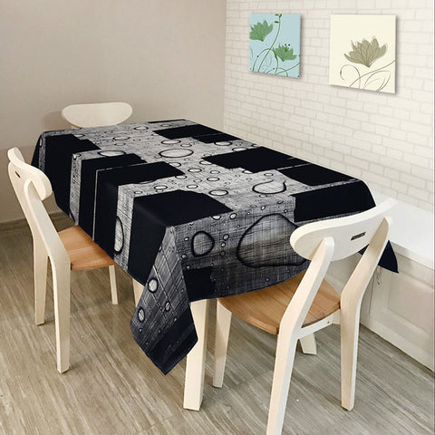 Monily Polyester Waterproof Rectangle Tablecloths Cool Music Note Piano Guitar Oilproof Table Cloth Home Banquet Table Covers