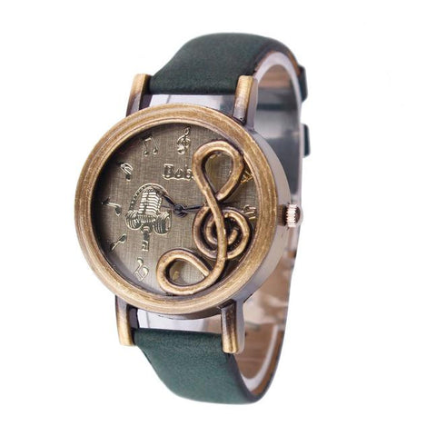 Women Vintage Note Band Analog Quartz Wrist Watch