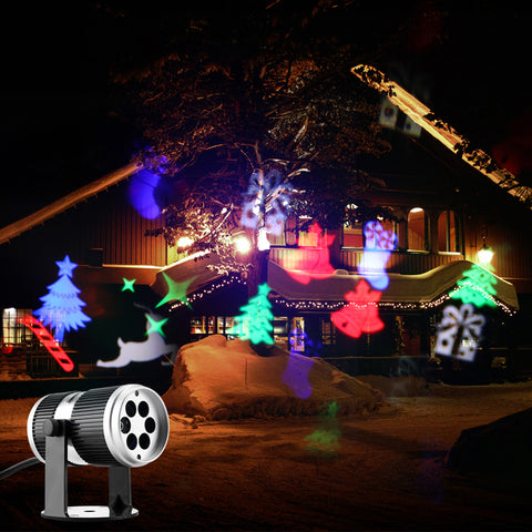 Image of 4 Types Christmas LED Projector Light Disco DJ Activated Moving Dynamic Snowflake RGB Halloween Christmas Decorations for Home