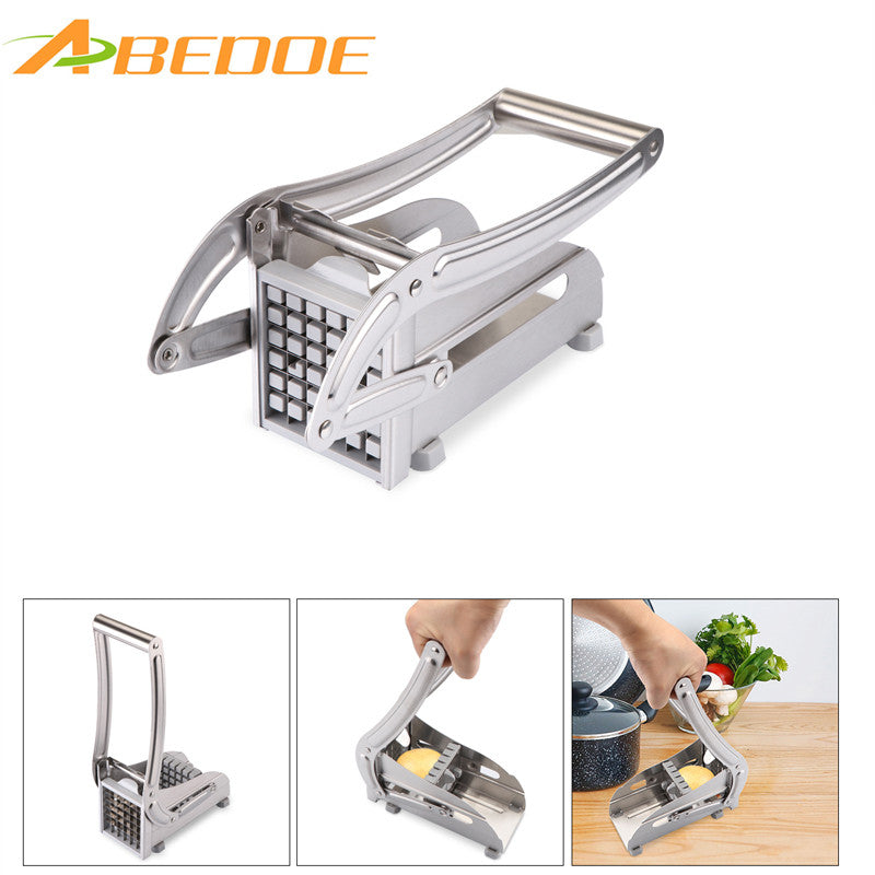 ABEDOE Stainless Steel Potato Chips Cutter Machine French Fry Potato Vegetable Cutting Dies Knives Kitchen Gadgets with 2 Blades