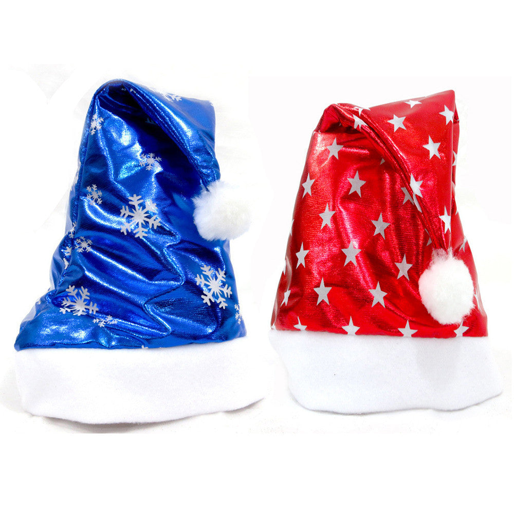2Pcs Christmas Party Santa Hat Red And Blue Cap for Santa Claus Costume New