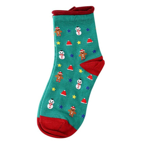 Hot Sale Christmas Socks Women Girl Socks Cute Unisex Snowman Animal Printed Cotton Soft Breathable Winter Warm Short Socks
