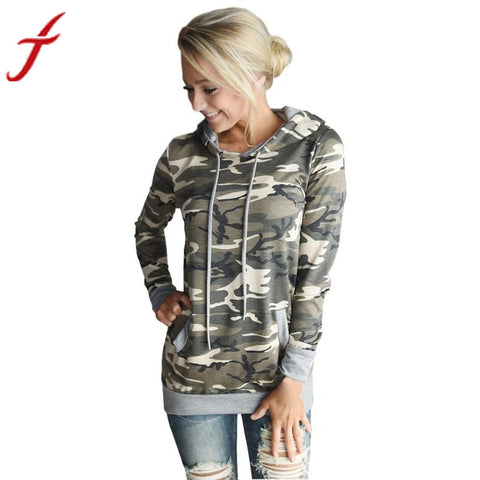 Image of Womens Blouse Camouflage Printing Pocket Hoodie Long Sleeve Hooded Pullover Tops Femme Blouses