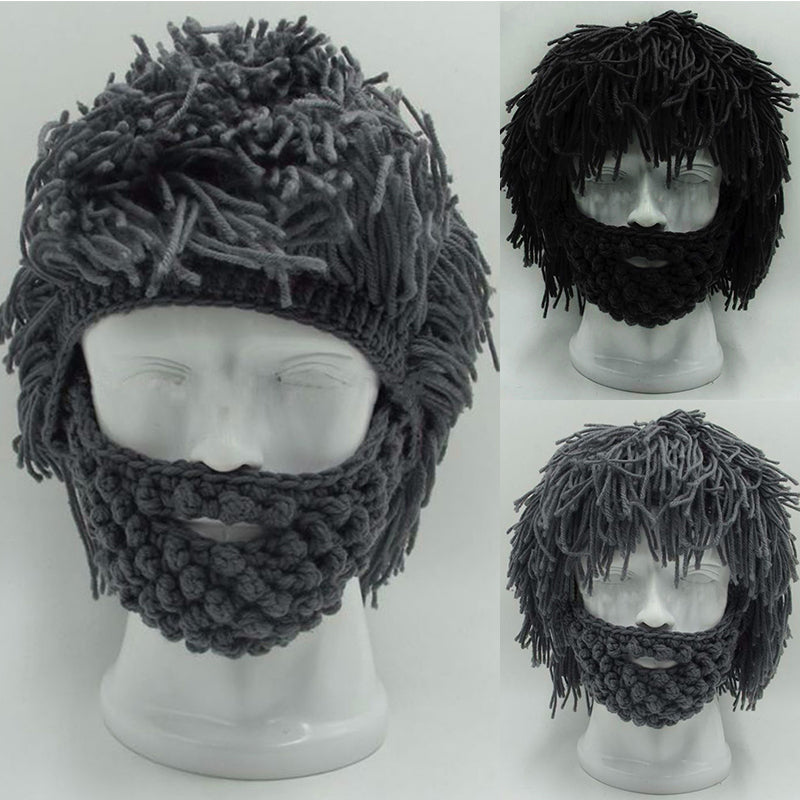 53fb086375a NaroFace Handmade Knitted Men Winter Crochet Mustache Hat Beard Beanies  Face Tassel Bicycle Mask Ski Warm. Tap to expand