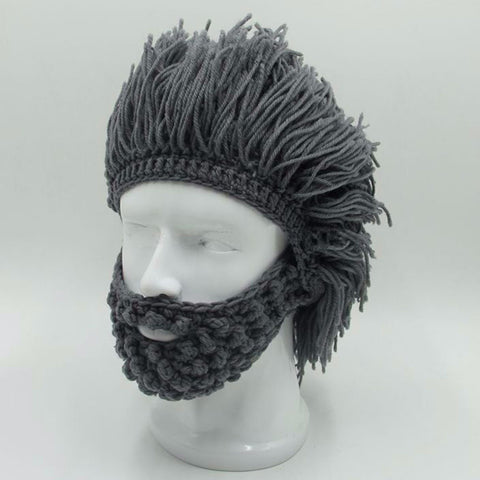 NaroFace Handmade Knitted Men Winter Crochet Mustache Hat Beard Beanies Face Tassel Bicycle Mask Ski Warm Cap Funny Hat Gift New