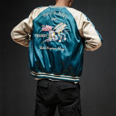Image of Two Sides Luxury Embroidery Bomber US NAVY Jacket Smooth Mens  Souvenir Jacket Streetwear Hip Hop Baseball Jacket
