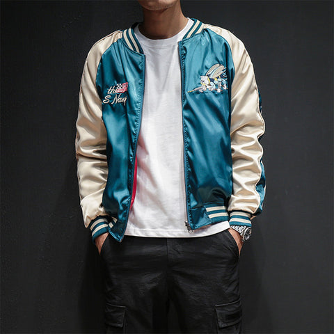 Two Sides Luxury Embroidery Bomber US NAVY Jacket Smooth Mens  Souvenir Jacket Streetwear Hip Hop Baseball Jacket