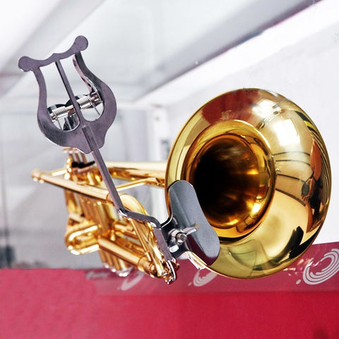 Image of Trombone - Trumpet Sheet Music Holder Clip Clip-on Stand Stainless Steel Nickel Plated