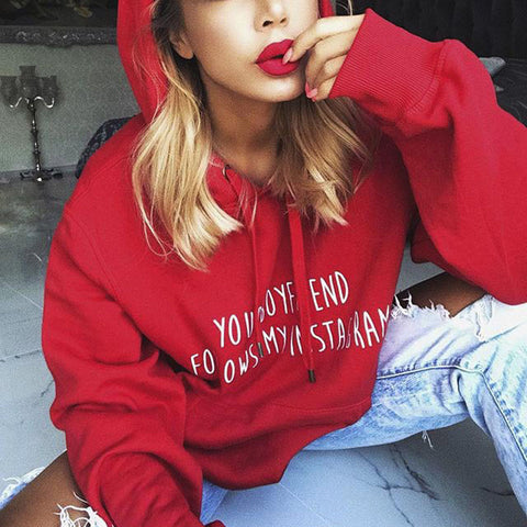 Image of Your Boyfriend Follows My Instagram - Womens Hoodie Sweatshirts  Loose Crop Coat Pullover Long Tops
