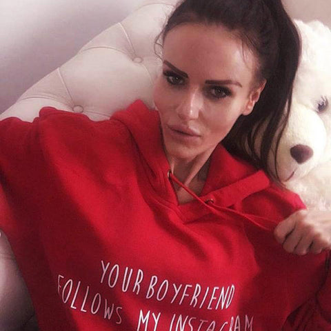 Your Boyfriend Follows My Instagram - Womens Hoodie Sweatshirts  Loose Crop Coat Pullover Long Tops